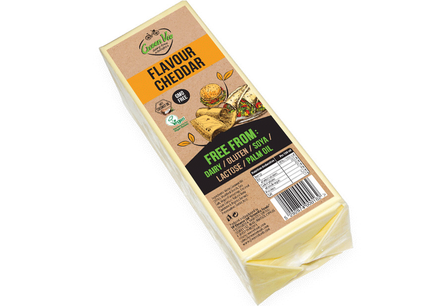 Vegan Cheese Dairy-Free Cheddar flavour cheese package block 2.5kg