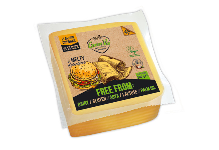 Vegan Dairy-Free Cheddar flavour cheese package slices 500g Foodservice