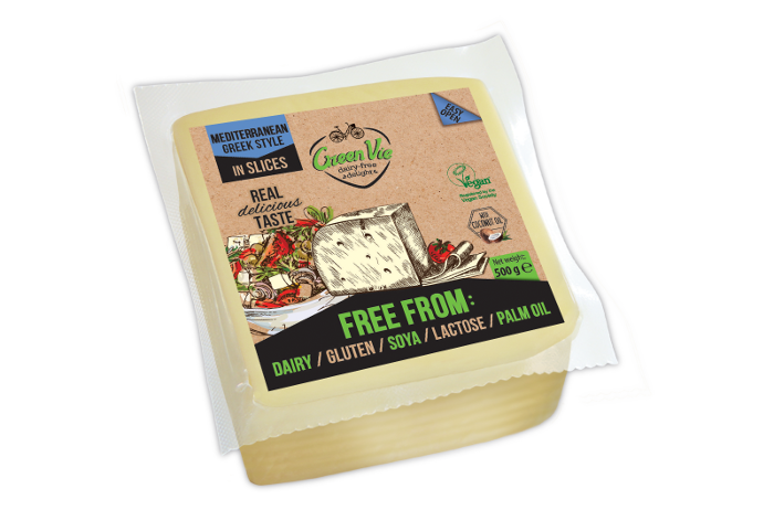 Vegan Dairy-Free Mediterranean Feta cheese flavour package slices 500g Foodservice