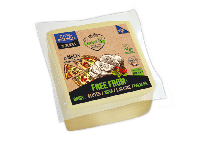 Vegan Dairy-Free Mozzarella cheese flavour package slices 500g Foodservice