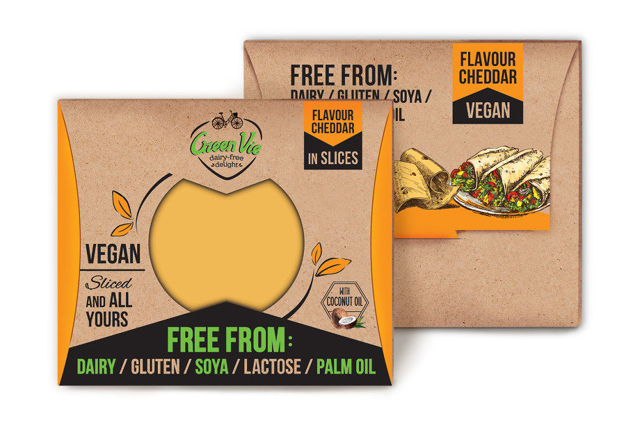 Vegan Dairy-Free Cheddar flavour cheese package slices 100g and 200g