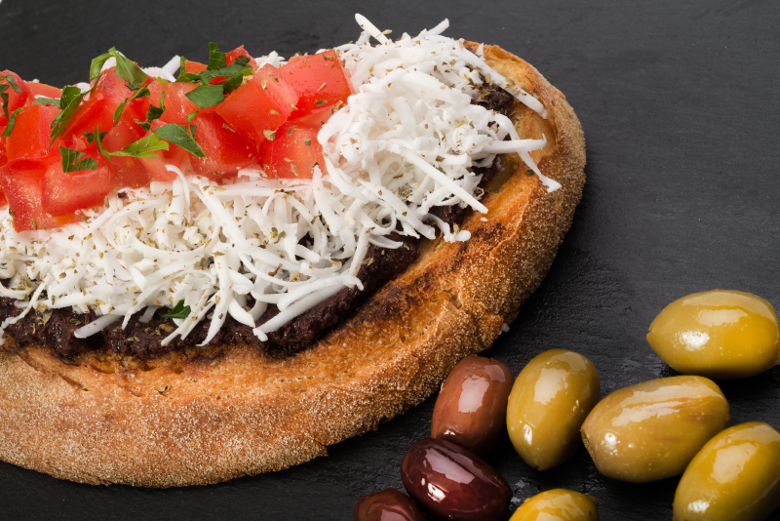 Vegan Dairy-free Plant Based Diet Greek Bruschetta with Mediterranean Feta flavour cheese