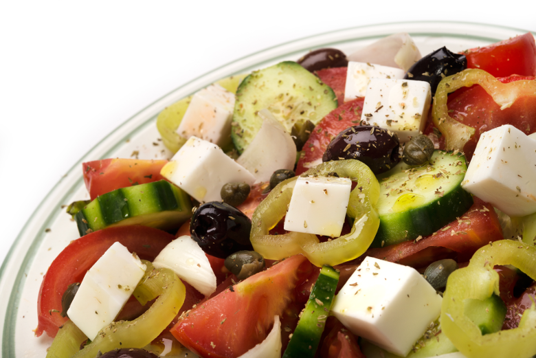 Vegan Dairy-free Plant Based Diet Greek Salad with Mediterranean Feta flavour cheese