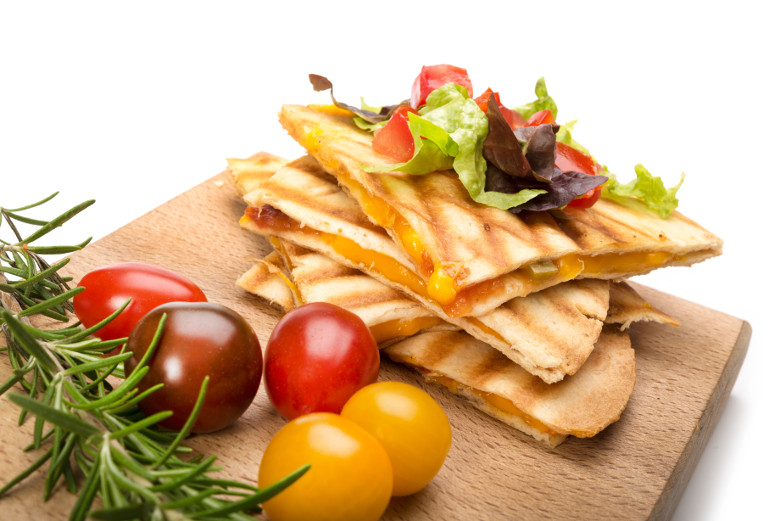 Vegan Plant Based Diet quesadillas with cheddar cheese plate 4 servings